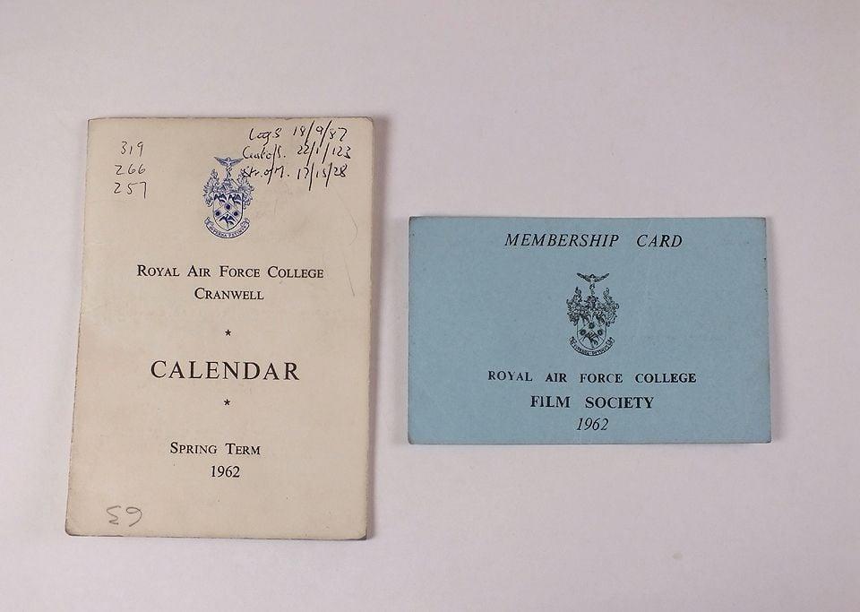 Royal Air Force College Cranwell Calendar Spring Term 1962 + RAF Film Society Membership Card 1962