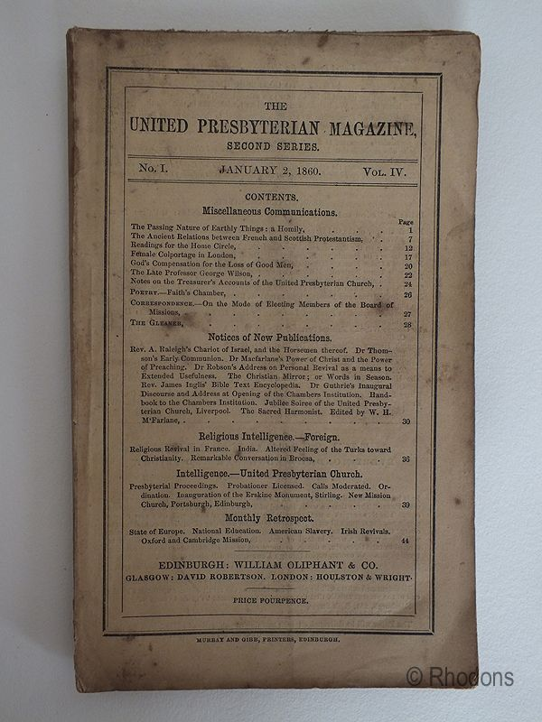 The United Presbyterian Magazine January 1860
