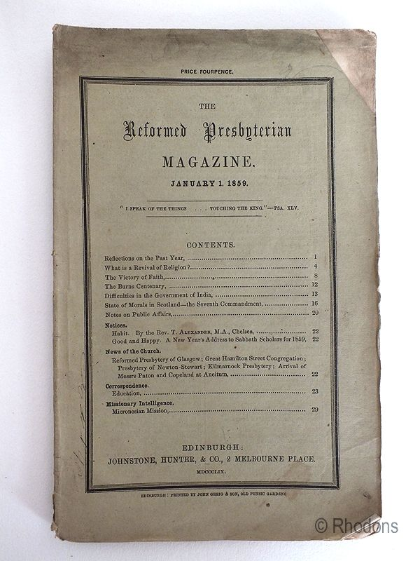 The Reformed Presbyterian Magazine January 1859