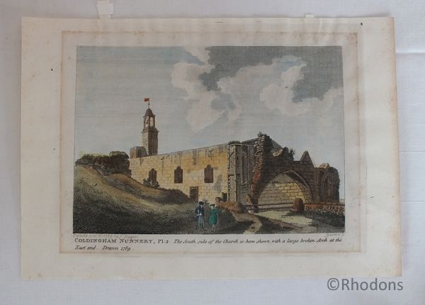 Coldingham Nunnery, Scotland 18th Century Engraving By Sparrow Published 1789
