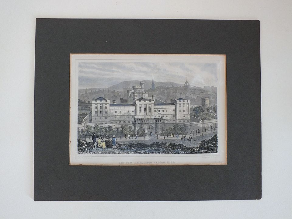The New Jail From Calton Hill, Edinburgh - Antique Colour Tinted Engraving Print By Shepherd / Tombleson