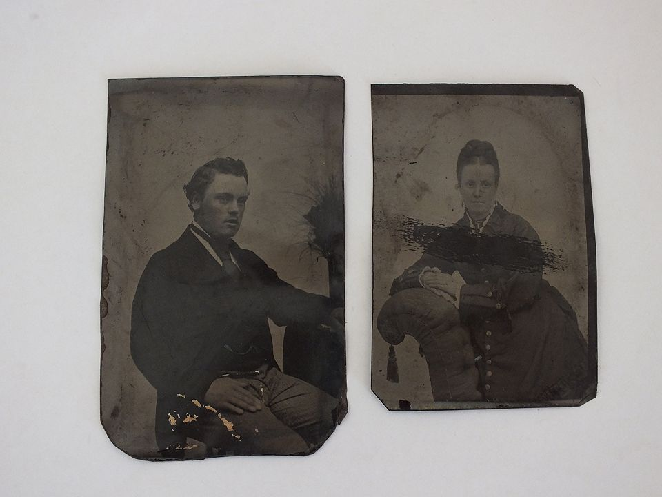 Victorian Tin Type Photos x2, Man and Woman. Circa 1860s