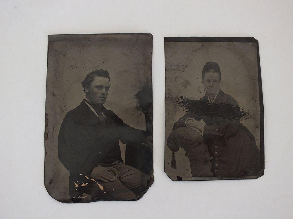 Victorian Tin Type Photos x2, Man and Woman. Circa 1860s
