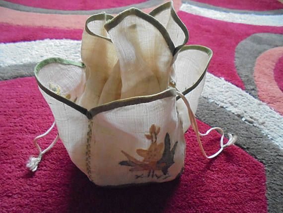 Victorian Drawstring Hussif Sewing Kit Organiser, Applique Decoration