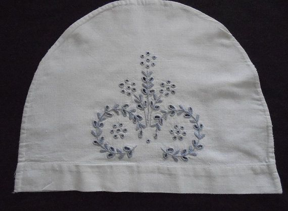 Antique Linen Teacosy, Teapot Cover, with Eyelet Embroidery Broderie Anglaise. Early 1900s