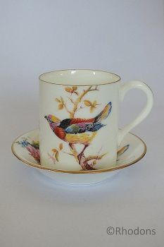 Royal Doulton Coffee Cup & Saucer, Exotic Bird Design (Lot #1)