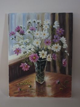 Still Life Painting On Canvas, Summer Flowers By J H Farrell