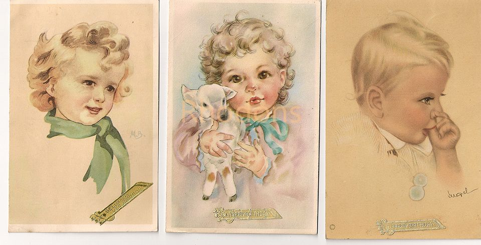 Vintage Artist Drawn Birthday Greetings Cards x3, Dutch, Circa 1940s