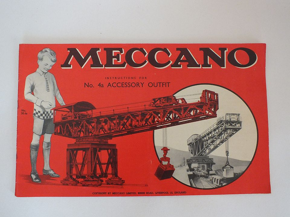 Vintage Meccano Instructions Manual Booklet For No 4a Accessory Outfit