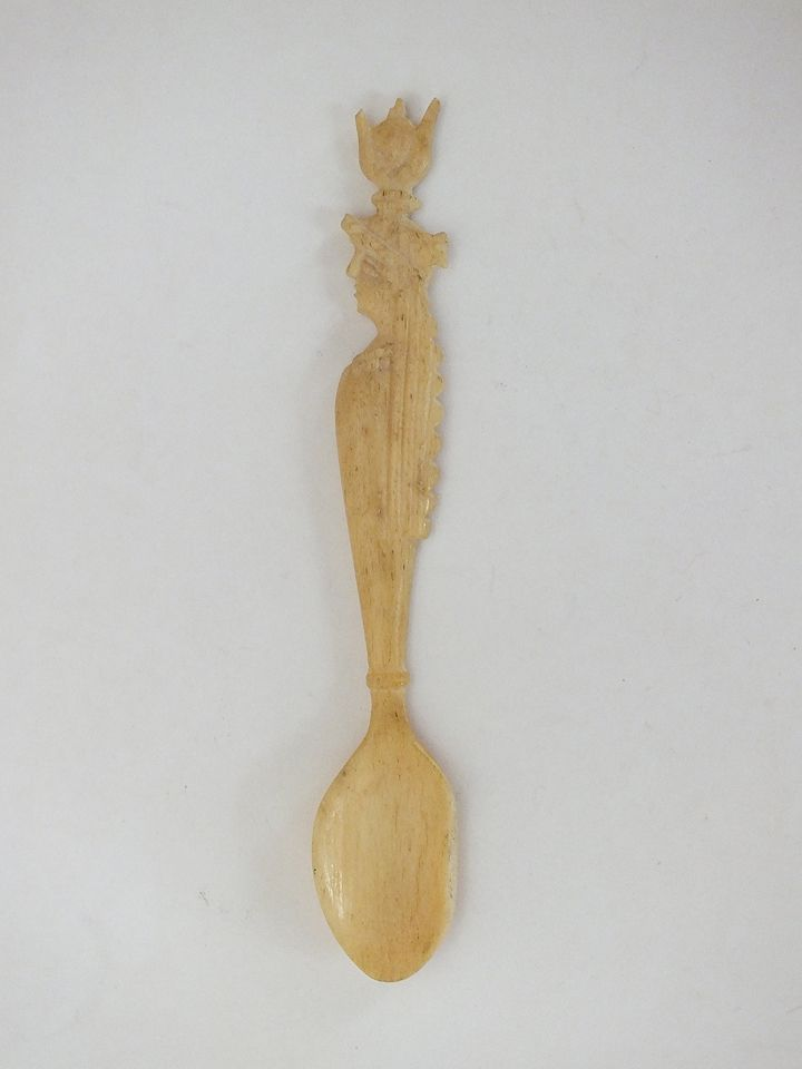 Figural Carved Bone Spoon