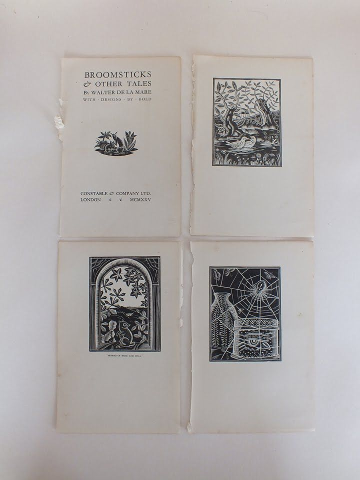Woodcut Prints By Bold From Broomsticks & Other Tales by Walter De La Mare. 1925. x13 Pieces