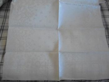 "Damask Linen, Unused, Uncut Bolt For Napkins, 12 Pieces, 24"" x 24"". Irish Shamrock Clover Pattern"