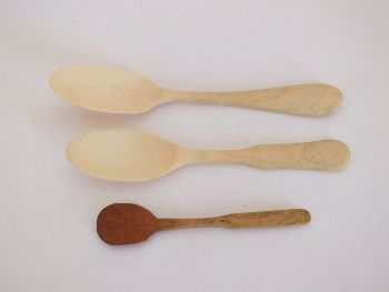 Carved Bone Condiment Spoons, Lot of 3