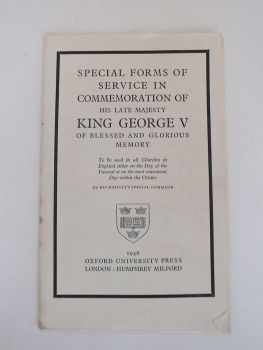 Special Forms Of Service In Commemoration Of His Late Majesty King George V, 1936