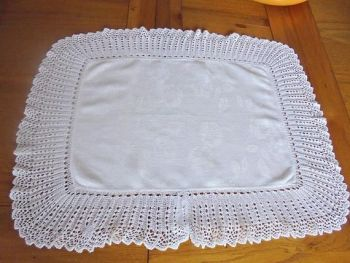 Vintage Damask And Knitted Lace Table Mat, Pansy Design