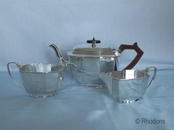 Art Deco 3 Piece Tea Service, Stower and Wragg Sheffield, Circa 1930s
