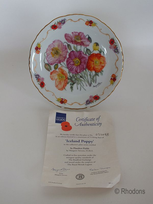 Royal British Legion Collectors Plate, Iceland Poppy In Flanders Fields, M Stevens, L/ E  # 03208B