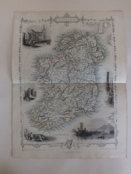 Illustrated Map Of Ireland, J & F Tallis, London, Edinburgh & Dublin, 19th Century