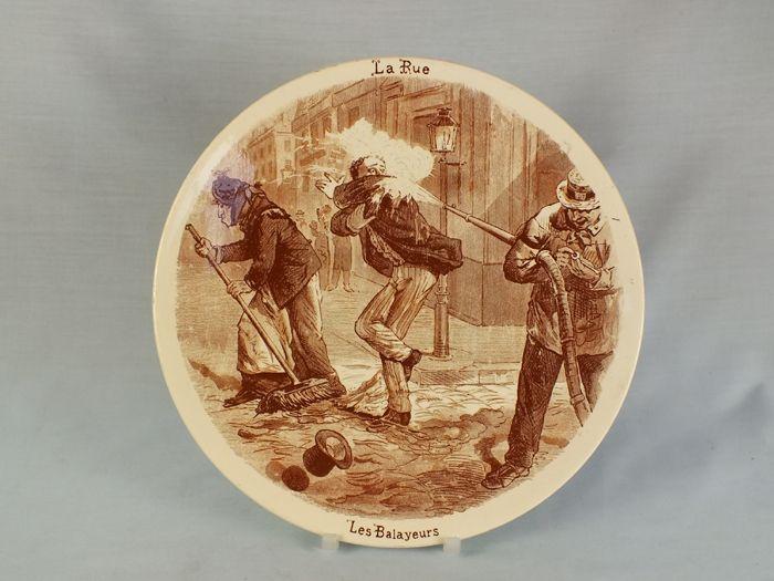Sarreguemines Wall Plaque, La Rue Les Balayeurs, Circa 1875-1900