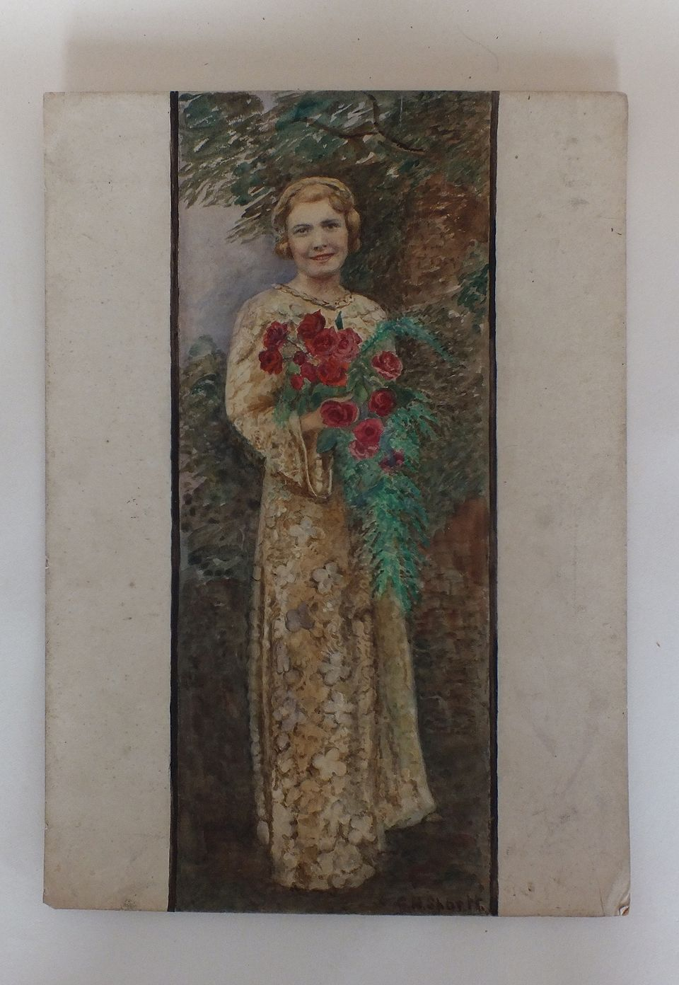 Original Watercolour Painting, Lady With Bouquet Of Roses By G H Sportt. Ci