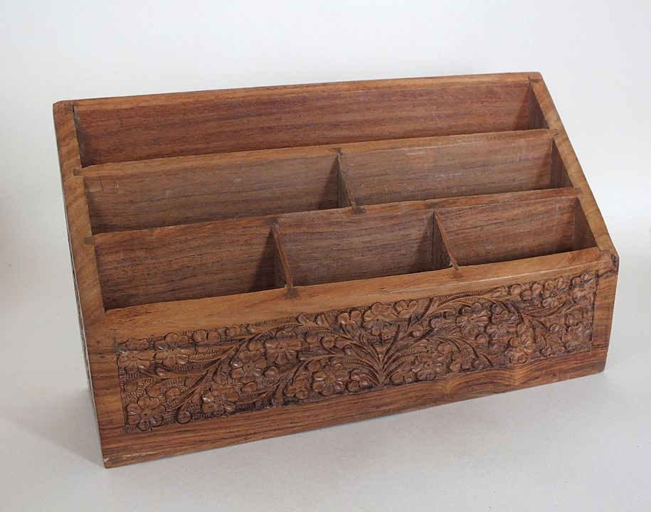 Carved Teak Wood Letter Rack, Stationery Tidy