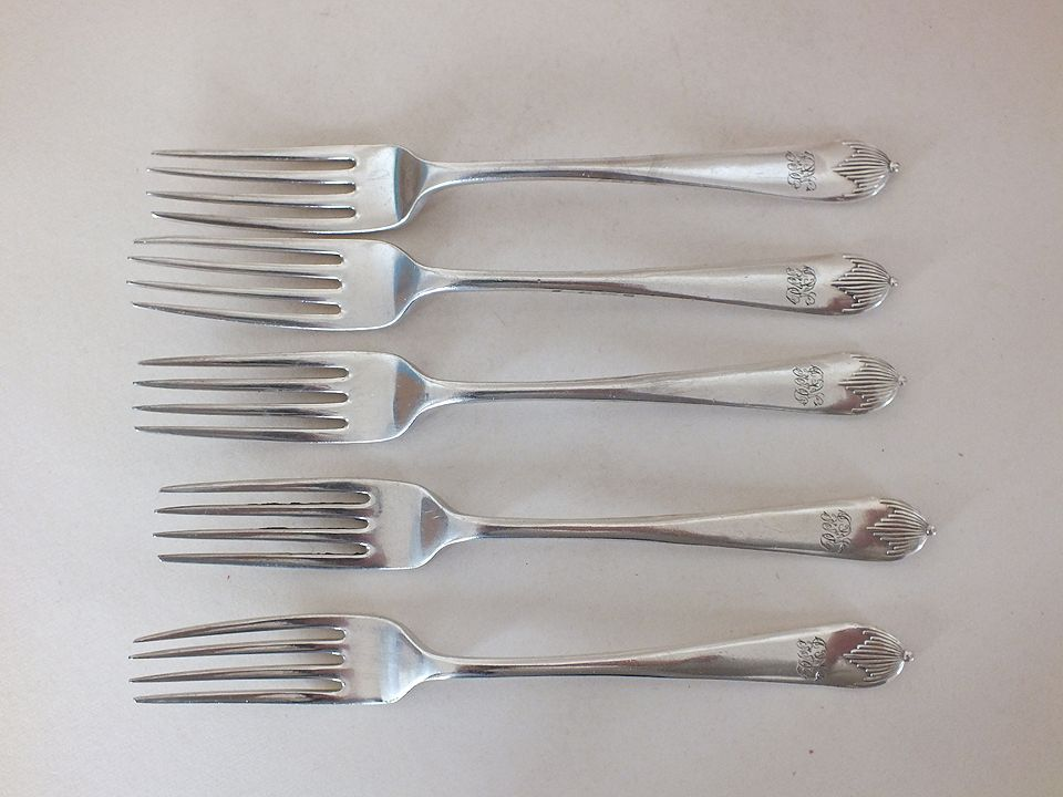 Dessert Forks, Mappin & Webb Princes Plate, x5 Pieces. Early 1900s