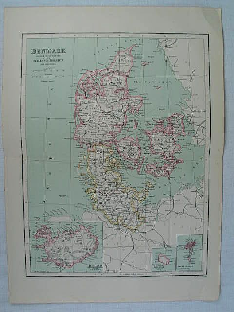 Map of Denmark, Bartholomew