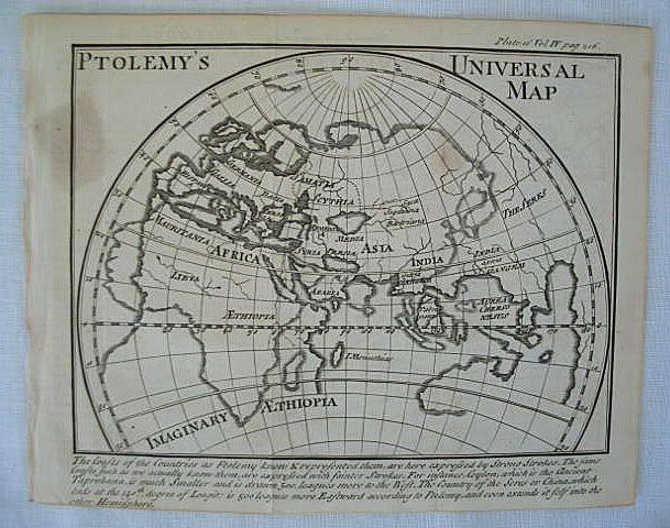 Ptolemy's Universal Map, 18th Century Print