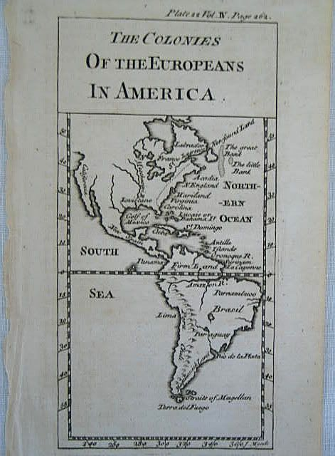 The Colonies of the Europeans In America, 18th Century Map Print