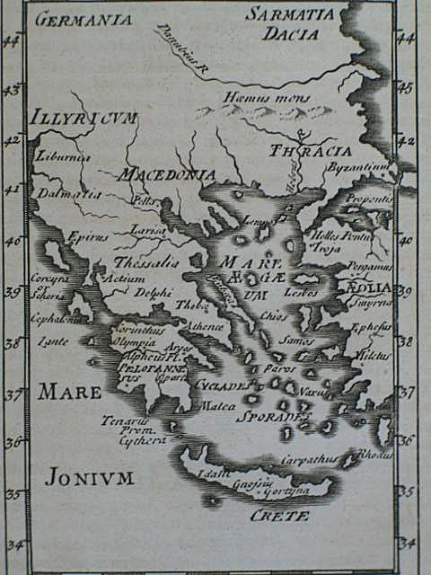 Grecia and Iona,18th Century Map Print of Greece and Crete