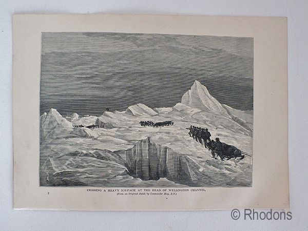Canadian Arctic Region Crossing A Heavy Ice Pack At the Wellington Channel. 19th Century Print,
