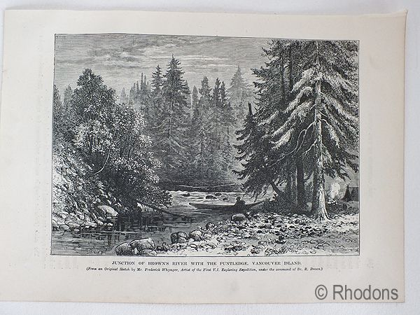 Vancouver Island, Canada. Junction Of Browns River With The Puntledge, Antique Print