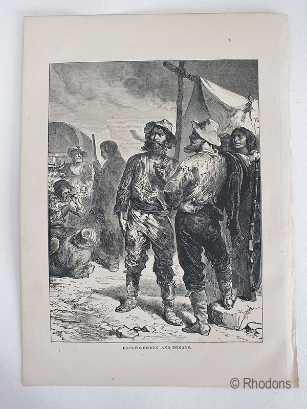 Backwoodsmen And Indians, Antique Print, USA.