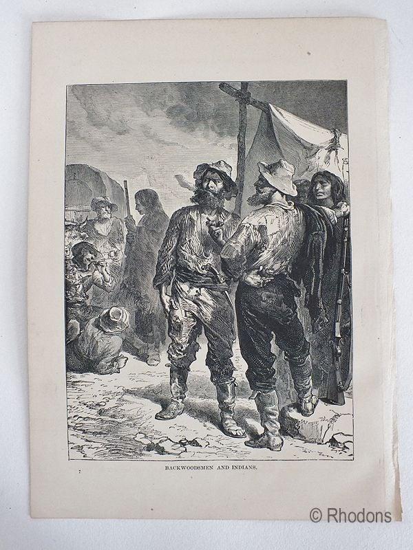 Antique Print, USA. Backwoodsmen And Indians.