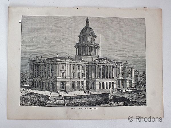 The Capitol, Sacramento, Antique Print, USA.