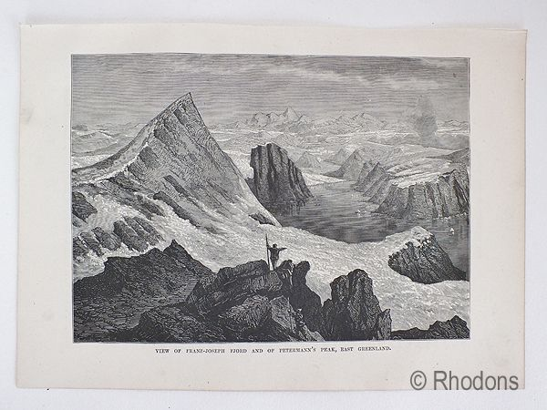 Franz Joseph Fjord & Petermanns Peak, East Greenland. 19th Century Arctic Region Print.