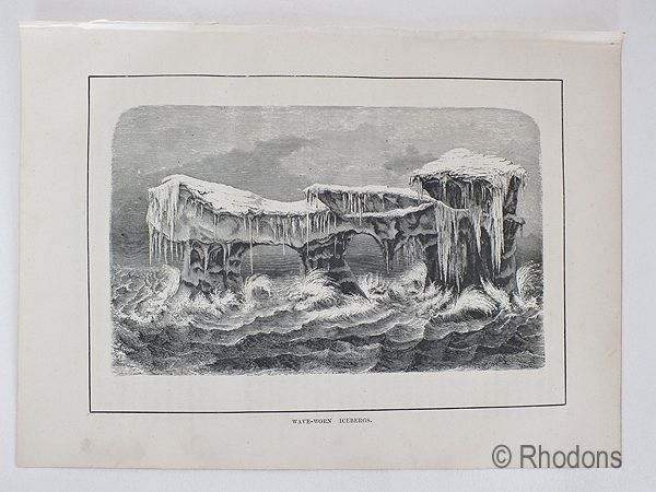 Wave Worn Icebergs, 19th Century Arctic Region Print.