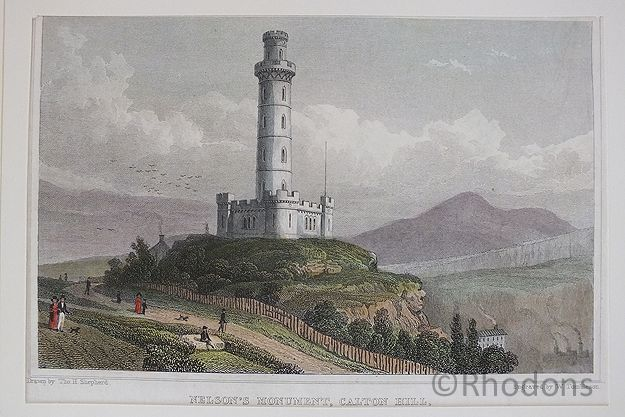 Nelsons Monument Calton Hill, Edinburgh, Antique Print Tho H Shepherd / W Tombleson