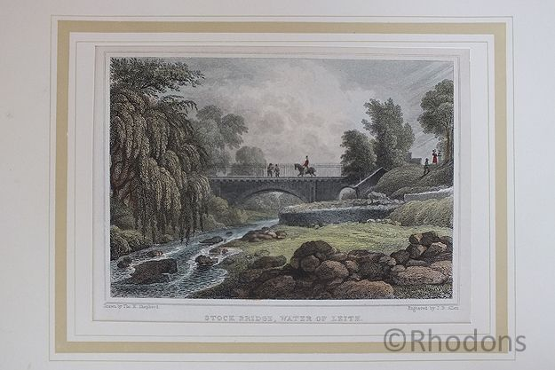Stock Bridge Water Of Leith, Edinburgh. Antique Colour Tinted Print, Tho H Shepherd / J B Allen