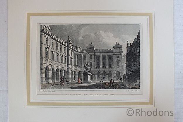 The Parliament House Edinburgh, Antique Colour Tinted Print, W Watkins After T H Shepherd