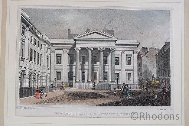 New County Hall And Advocates Library, Edinburgh, Antique Print, Tho H Shepherd / Lizars