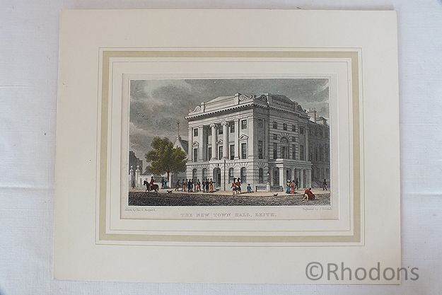 The New Town Hall Leith Edinburgh. Antique Colour Tinted Print By Tho H Shepherd / J Henshall