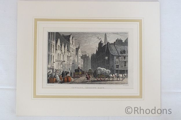 Cowgate Edinburgh Looking East. Antique Hand Coloured Print By Tho H Shepherd / W Radclyffe