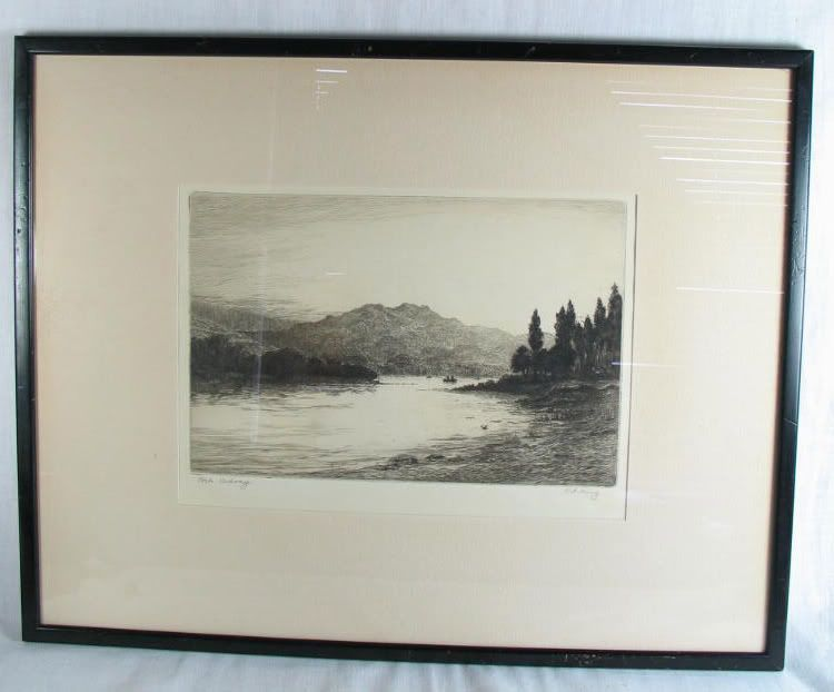 Loch Achray, The Trossachs, Scotland By R F King. Limited Edition Artist Signed Proof Etching