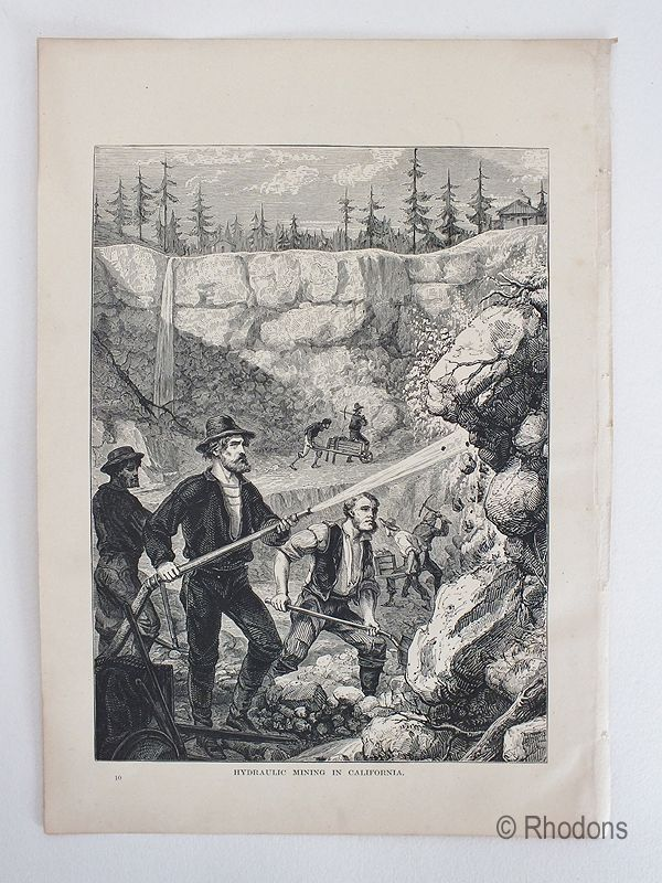 Hydraulic Mining In California, Antique Print, USA