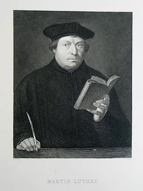 Martin Luther By W Hall After Holbein. Victorian Portrait Print