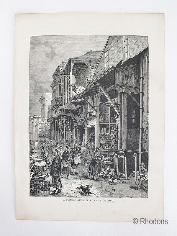 Chinese Quarter In San Francisco, Antique Print, USA