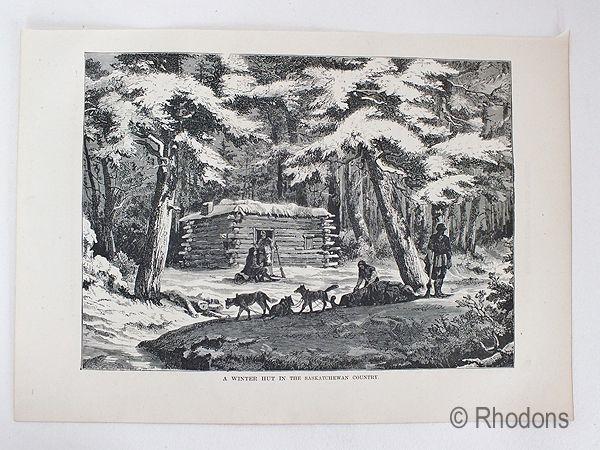 A Winter Hut In The Saskatchewan Country, Antique Print, Canada