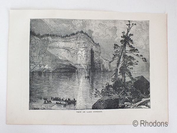 View On Lake Superior, Antique Print, USA & Canada
