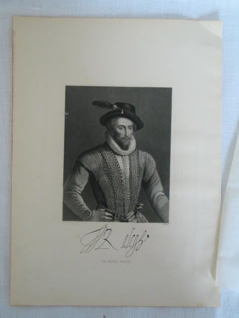Sir Walter Raleigh Antique Print By W Hall